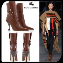 Burberry Plain Leather Pin Heels Ankle & Booties Boots