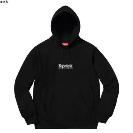Supreme Hoodies Unisex Street Style Long Sleeves Plain Cotton Logo Hoodies