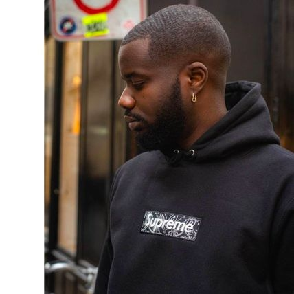 Supreme Hoodies Unisex Street Style Long Sleeves Plain Cotton Logo Hoodies 10