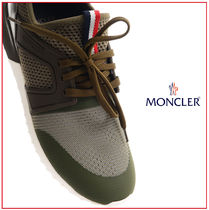 MONCLER Stripes Round Toe Rubber Sole Lace-up Casual Style Unisex