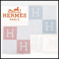 HERMES Unisex Bi-color Cotton Logo Handkerchief