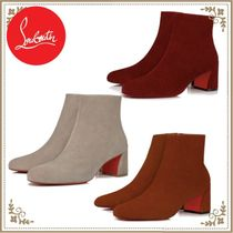 Christian Louboutin Casual Style Velvet Block Heels Ankle & Booties Boots