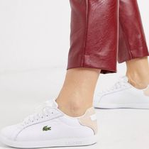 LACOSTE Unisex Street Style Plain Leather Low-Top Sneakers