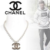 CHANEL Unisex Blended Fabrics Street Style Leather Metal