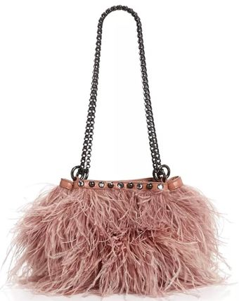 Ostrich Leather Plain Party Style Fringes Party Bags