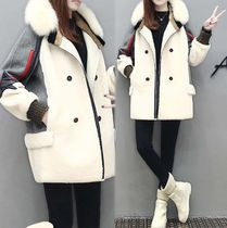 Short Star Plain Fur Vests Oversized Parkas