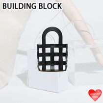 Building Block Other Check Patterns Street Style Plain Leather Straw Bags