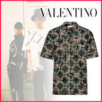 VALENTINO VLTN Camouflage Street Style Long Sleeves Cotton Shirts