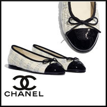 CHANEL Tweed Blended Fabrics Plain Ballet Shoes