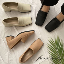 Square Toe Casual Style Faux Fur Plain Office Style