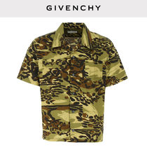 GIVENCHY Button-down Camouflage Leopard Patterns Cotton Short Sleeves