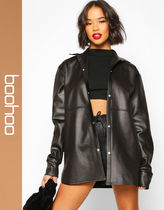 boohoo Casual Style Faux Fur Long Sleeves Shirts & Blouses