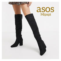 ASOS Round Toe Suede Street Style Block Heels Over-the-Knee Boots