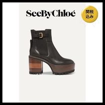 See by Chloe Plain Leather Block Heels Elegant Style Boots Boots