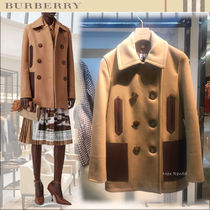 Burberry Short Wool Blended Fabrics Plain Elegant Style Peacoats