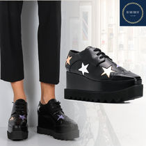 Stella McCartney ELYSE Star Square Toe Platform Lace-up Casual Style Street Style