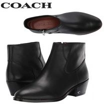 Coach Round Toe Casual Style Plain Leather Ankle & Booties Boots