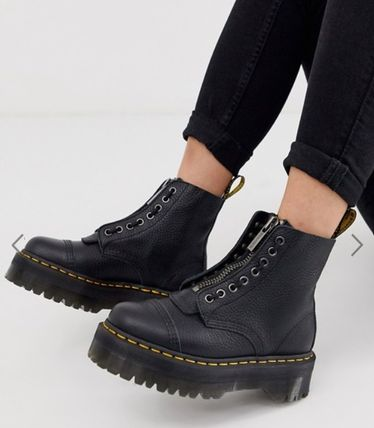 Round Toe Lace-up Plain Leather Lace-up Boots