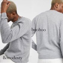 boohoo Crew Neck Cable Knit Unisex Street Style Long Sleeves Plain
