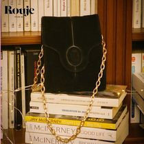 Rouje Casual Style Chain Leather Party Style Office Style