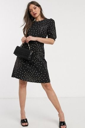 Crew Neck Short Dots Blended Fabrics Short Sleeves