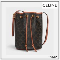 CELINE Triomphe Casual Style Calfskin Canvas Blended Fabrics 2WAY