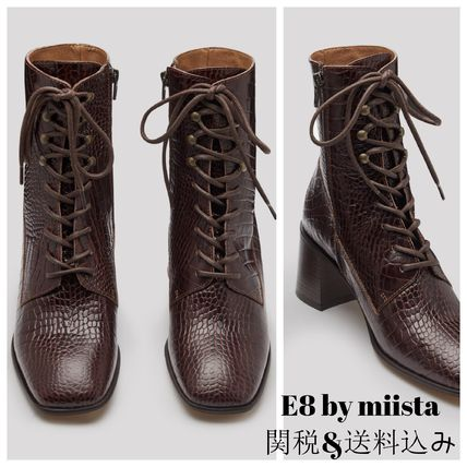 Square Toe Lace-up Casual Style Plain Other Animal Patterns