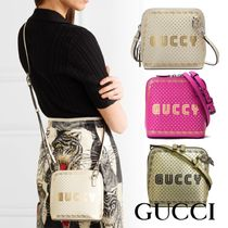 GUCCI Leather Crossbody Logo Shoulder Bags