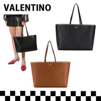 VALENTINO SHOPPING Casual Style Calfskin Studded A4 Plain Leather Office Style