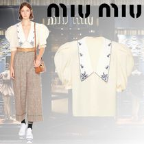 MiuMiu Flower Patterns Casual Style Puffed Sleeves Plain