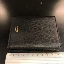 CELINE Calfskin Folding Wallet Logo Folding Wallets