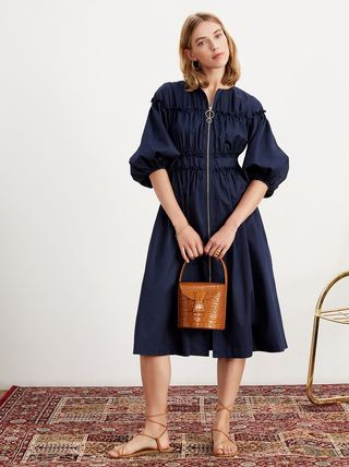 Cropped Plain Cotton Shirt Dresses Elegant Style Dresses