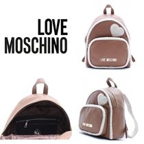 Love Moschino Casual Style Street Style Plain Backpacks