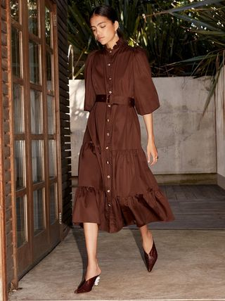 Plain Shirt Dresses Puff Sleeves Dresses