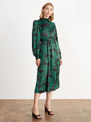 Flared Long Sleeves Other Animal Patterns High-Neck Dresses