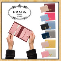 PRADA SAFFIANO LUX Unisex Saffiano Plain Leather Folding Wallets