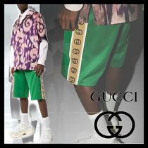 GUCCI Nylon Street Style Plain Cotton Joggers Shorts