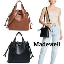 Madewell Casual Style 2WAY Plain Leather Office Style Dark Brown