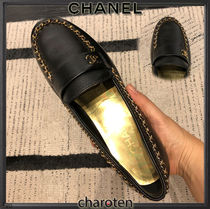 CHANEL ICON Plain Toe Casual Style Chain Plain Leather Party Style