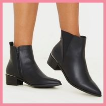 Lipsy Casual Style Faux Fur Plain Chelsea Boots Chunky Heels