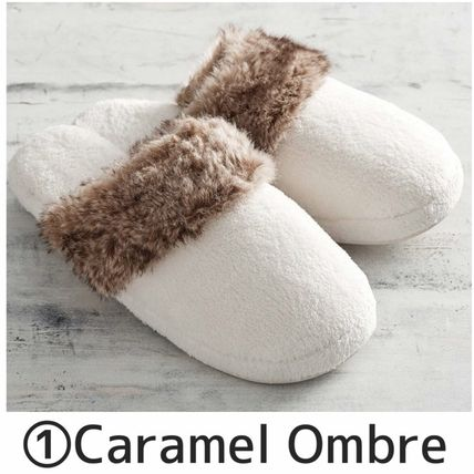 Faux Fur Plain Slippers Shoes