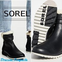 SOREL Round Toe Rubber Sole Plain Leather Ankle & Booties Boots