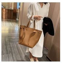 Faux Fur Street Style A4 2WAY Plain Office Style Khaki Totes