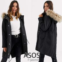 ASOS Casual Style Faux Fur Street Style Plain Long Office Style