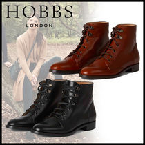 Hobbs London Round Toe Lace-up Casual Style Leather Elegant Style