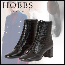 Hobbs London Square Toe Lace-up Casual Style Leather Block Heels Python