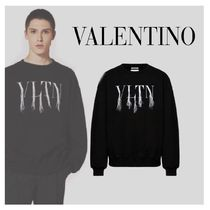 VALENTINO VLTN Collaboration Long Sleeves Cotton Oversized Logo Sweatshirts