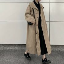 Casual Style Plain Long Office Style Khaki Trench Coats