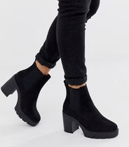 ASOS Wedge Round Toe Casual Style Plain Block Heels Chelsea Boots