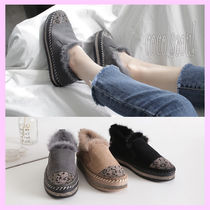 Leopard Patterns Platform Plain Toe Casual Style Suede Fur
